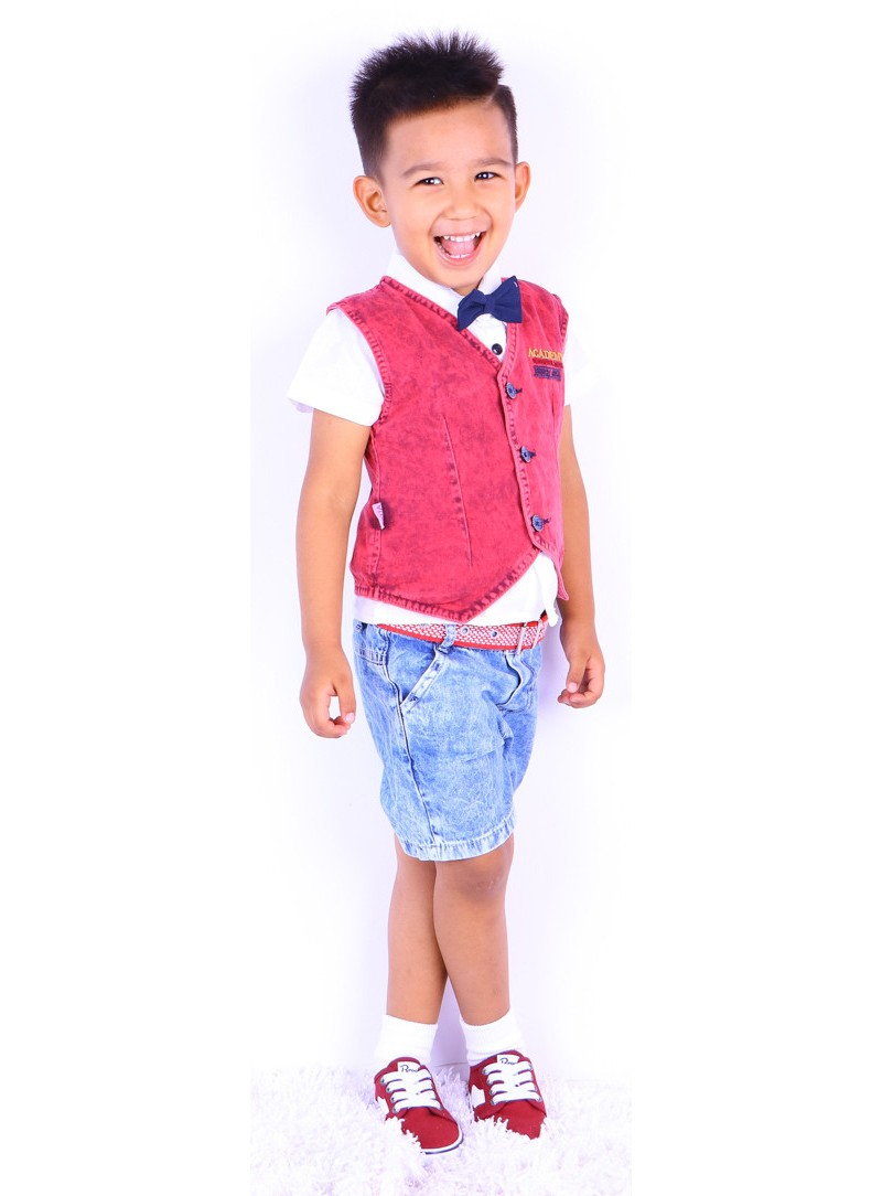 Summer Boy Baby Polo Collar Casual Short Sleeve Shirt with Vest and Denim Shorts